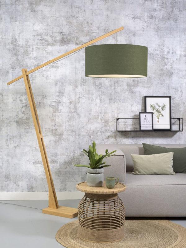 Vloerlamp Montblanc bamboe h.207/kap 60x30cm eco linnen, green forest Good & Mojo Vloerlamp MONTBLANC/F/6030/GF