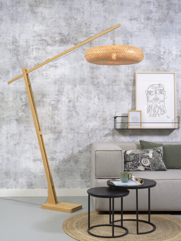 Vloerlamp Palawan bamboe h.207cm/kap 60x15cm nat. Good & Mojo Vloerlamp PALAWAN/F/MB/6015/N