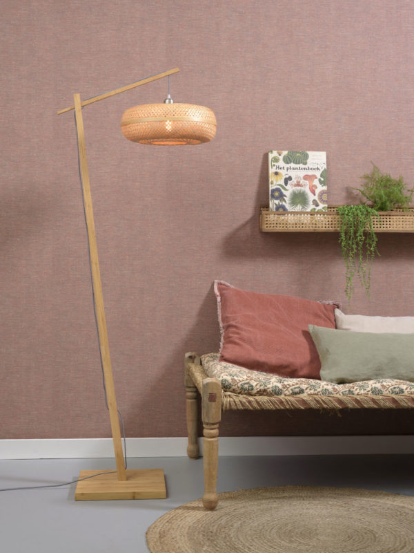 Vloerlamp Palawan bamboe nat. h.176cm/kap 40x15cm naturel Good & Mojo Vloerlamp PALAWAN/F/AD/N/4015/N