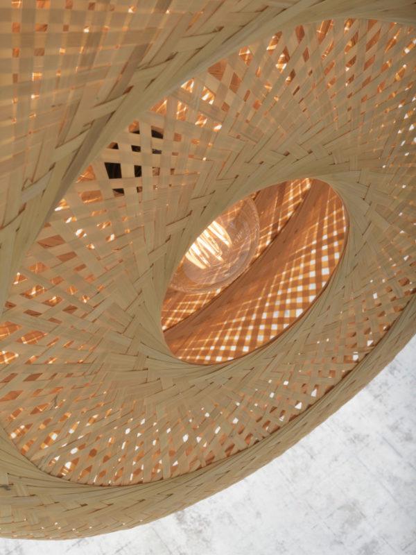 Vloerlamp Palawan bamboe zw.h.176cm/kap 60x15cm naturel Good & Mojo Vloerlamp PALAWAN/F/AD/B/6015/N