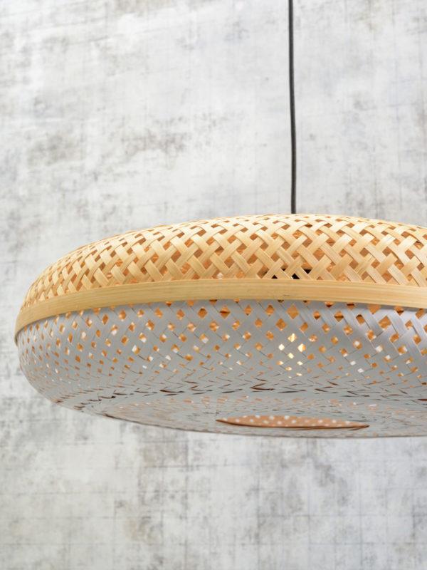 Vloerlamp Palawan bamboe zw.h.176cm/kap 60x15cm nat/wit Good & Mojo Vloerlamp PALAWAN/F/AD/B/6015/WN