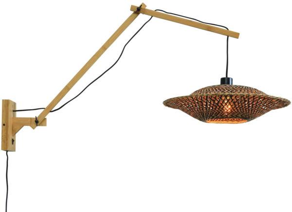 Wandlamp Bali bamboe nat./kap 44x12cm zw./nat., L Good & Mojo Wandlamp BALI/W3/AD/N/4412/BN