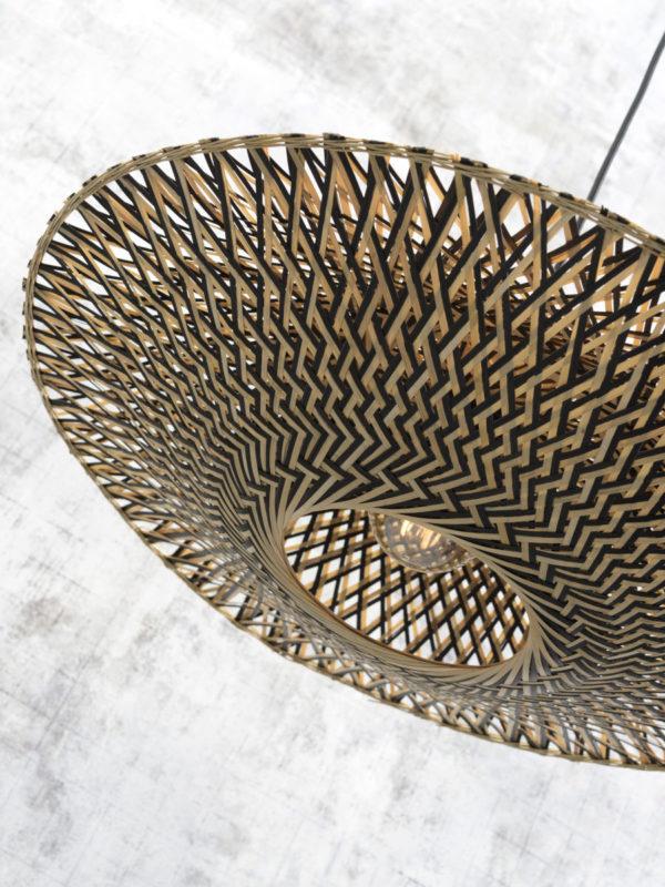 Wandlamp Bali bamboe nat./kap 44x12cm zw./nat., S Good & Mojo Wandlamp BALI/W2/AD/N/4412/BN