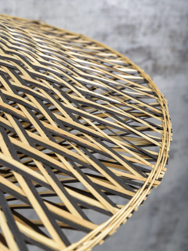 Wandlamp Bali bamboe zwart/kap dia.44x12cm zw./nat., S Good & Mojo Wandlamp BALI/W2/AD/B/6015/BN