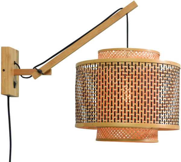 Wandlamp Bhutan bamboe nat./kap 40x34cm zw./nat. S Good & Mojo Wandlamp BHUTAN/W2/AD/N/4034/BN