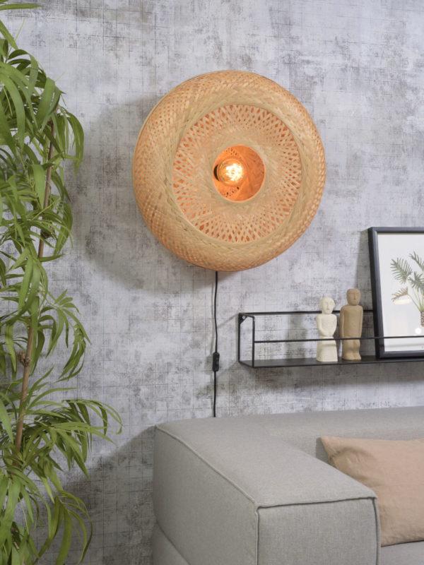 Wandlamp Palawan bamboe 60x15cm naturel, L Good & Mojo Wandlamp PALAWAN/W/6015/N