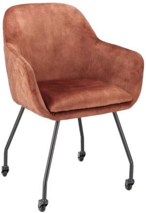 Pronto Wonen Eetstoel Dioro (met skatewielen) copper  Eetkamerstoel