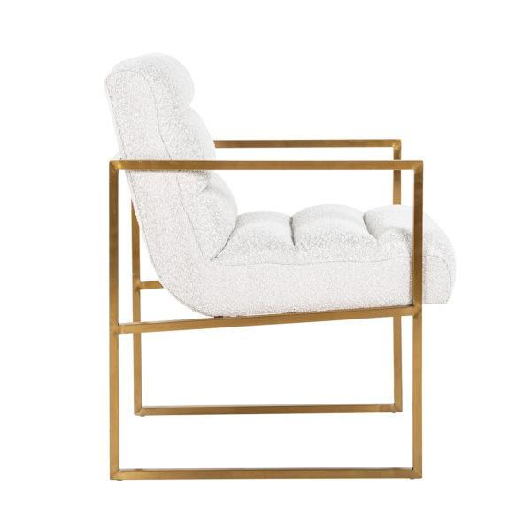 Richmond Interiors Stoel Lizzy White Bouclé / gold (Copenhagen 900 Bouclé White) Copenhagen 900 Bouclé White Eetkamerstoel