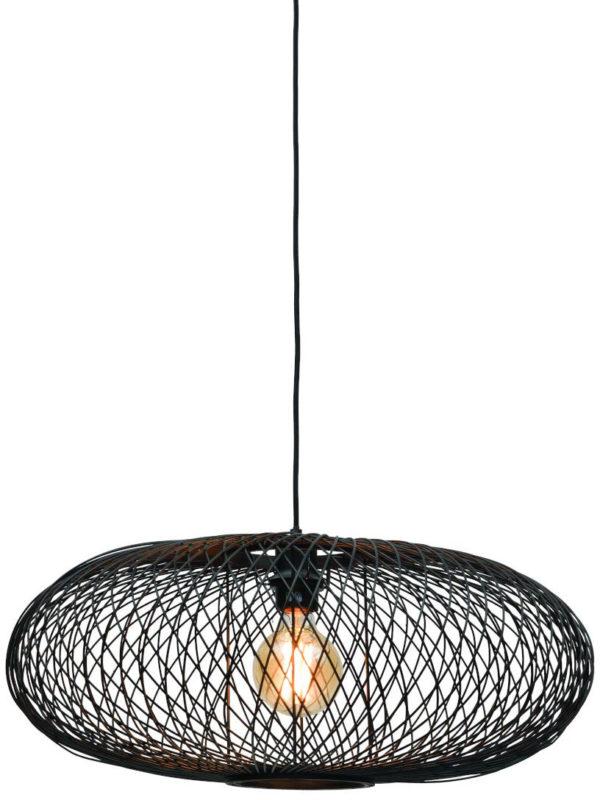 Hanglamp Cango bamboe ellips dia.60x25cm zwart it's about RoMi Hanglamp CANGO/H/6025/B