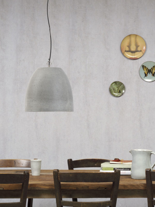 Hanglamp cement Malaga/kap rond dia.36xh.31cm cementgrijs, L it's about RoMi Hanglamp MALAGA/H31/DG