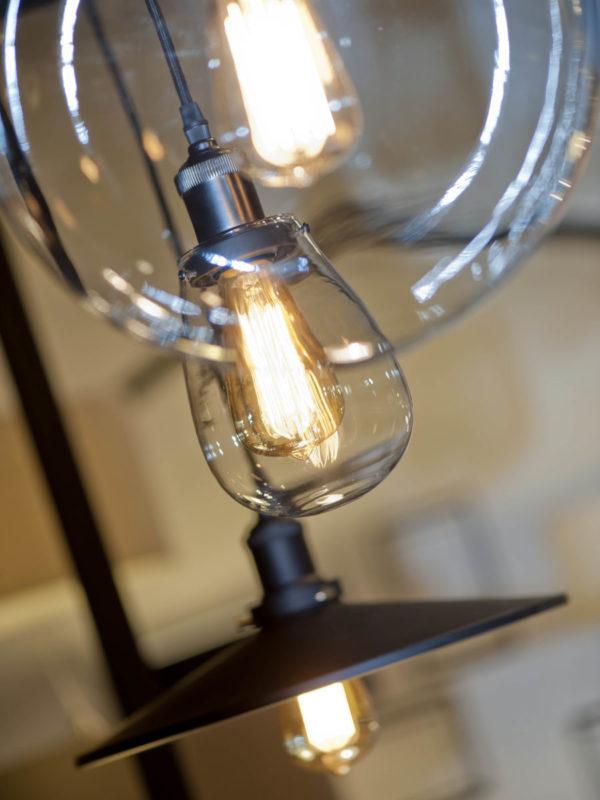 Hanglamp glas/druppel Prague h.24/dia.12cm transparant/zwart textielsnoer it's about RoMi Hanglamp PRAGUE/H/B