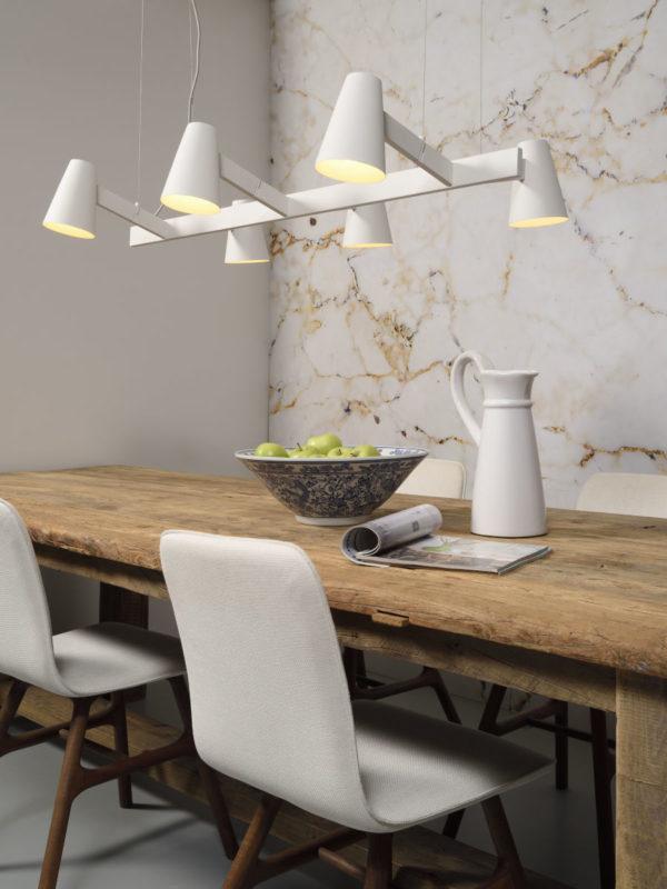 Hanglamp ijzer Biarritz 6-arm l.120xb.65cm verstelbaar, wit it's about RoMi Hanglamp BIARRITZ/H6/W