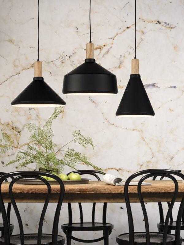 Hanglamp ijzer/hout Melbourne dia.35xh.34cm zwart/naturel, L it's about RoMi Hanglamp MELBOURNE/H34/B