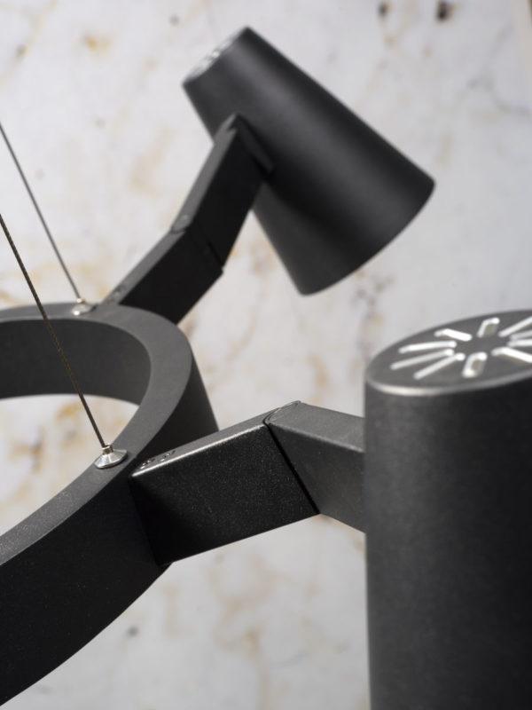 Kroonluchter ijzer Biarritz 5-arm rond dia.100xh.16cm verstelbaar, zwart it's about RoMi Kroonluchter BIARRITZ/H5/B