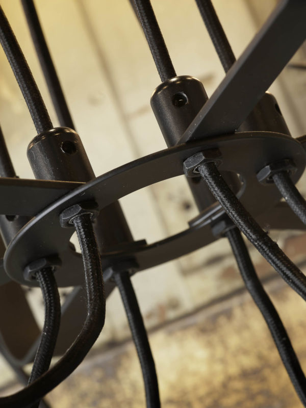 Kroonluchter ijzer Seattle 6-arm textieldraad dia.55xh.26cm, zwart it's about RoMi Kroonluchter SEATTLE/H/B