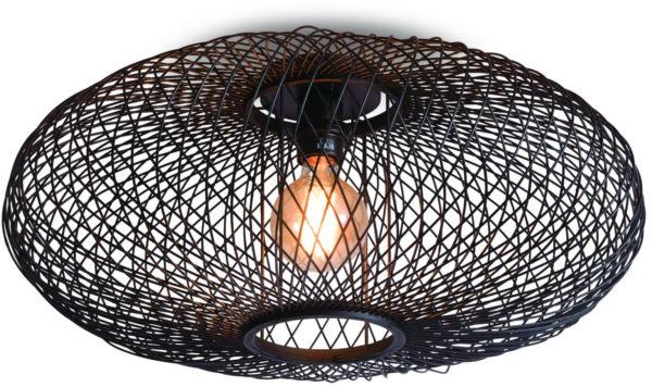 Plafonniere Cango bamboe ellips dia.60x25cm zwart it's about RoMi Plafondlamp CANGO/C/6025/B