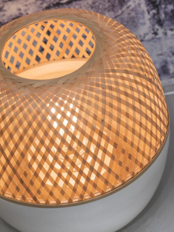 Tafellamp bamboe Mekong dia.25xh.29cm wit/naturel, S it's about RoMi Tafellamp MEKONG/T25/W