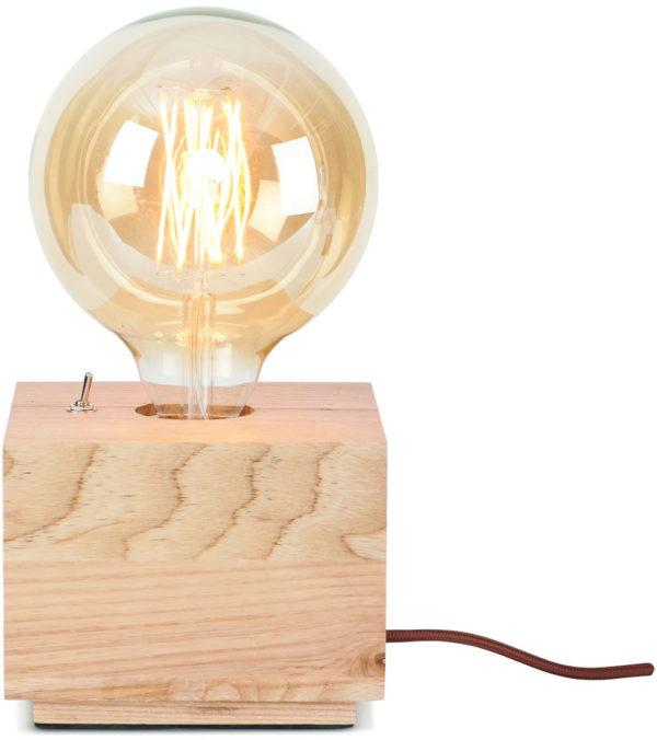 Tafellamp essenhout Kobe 13x13xh.10cm naturel, vierkant it's about RoMi Tafellamp KOBE/TS