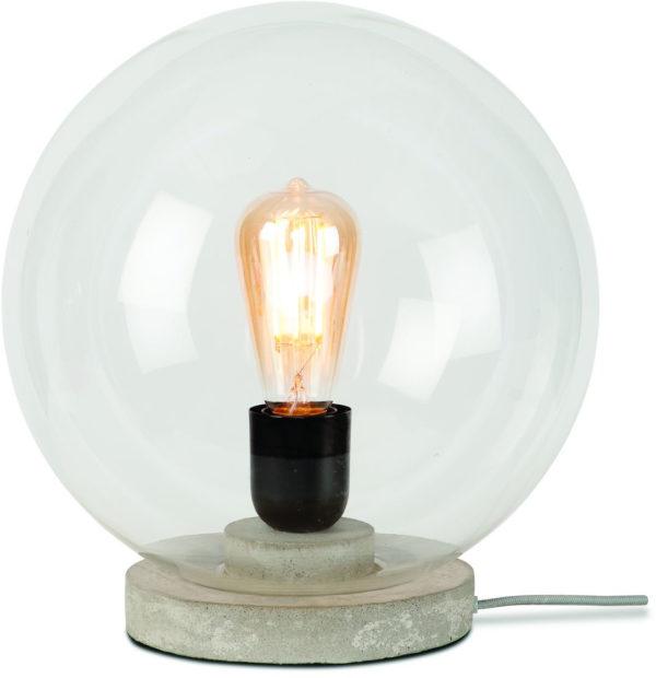 Tafellamp glas/cement Warsaw dia.32cm transparant/grijs it's about RoMi Tafellamp WARSAW/T30/LG