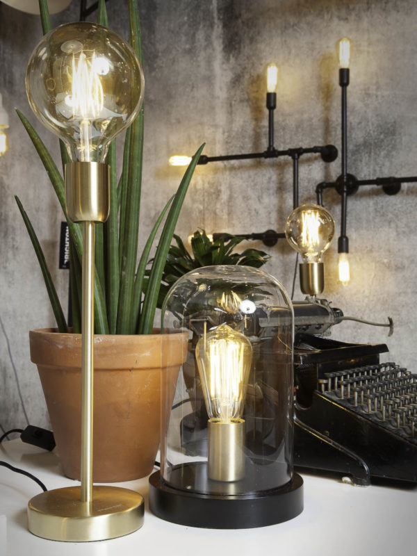 Tafellamp glas/hout stolp Seattle rond dia.18xh.29,5cm, zwart/transparant it's about RoMi Tafellamp SEATTLE/T/B