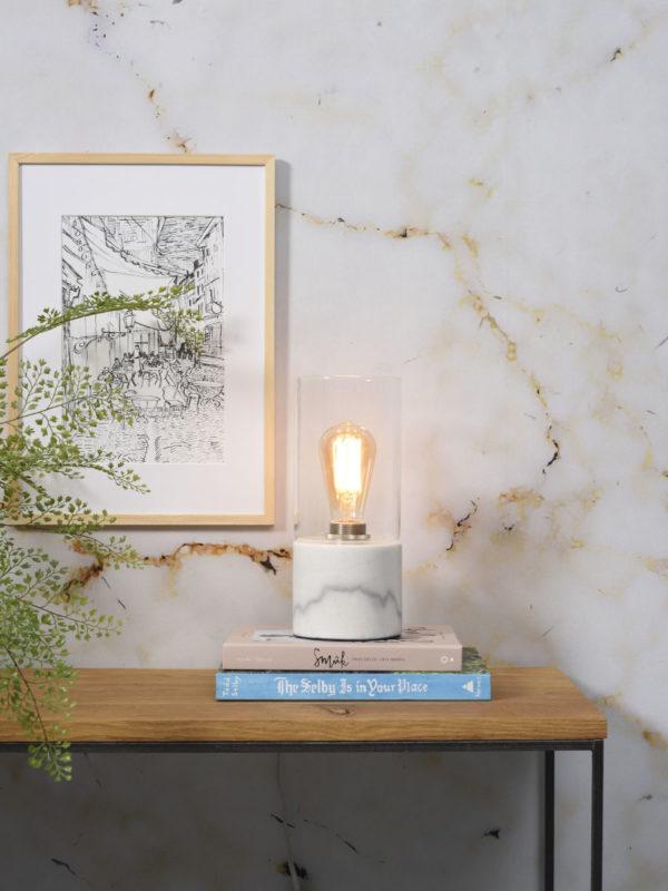 Tafellamp glas/marmer Athens cilinder dia.12xh.25cm, wit it's about RoMi Tafellamp ATHENS/TG/W