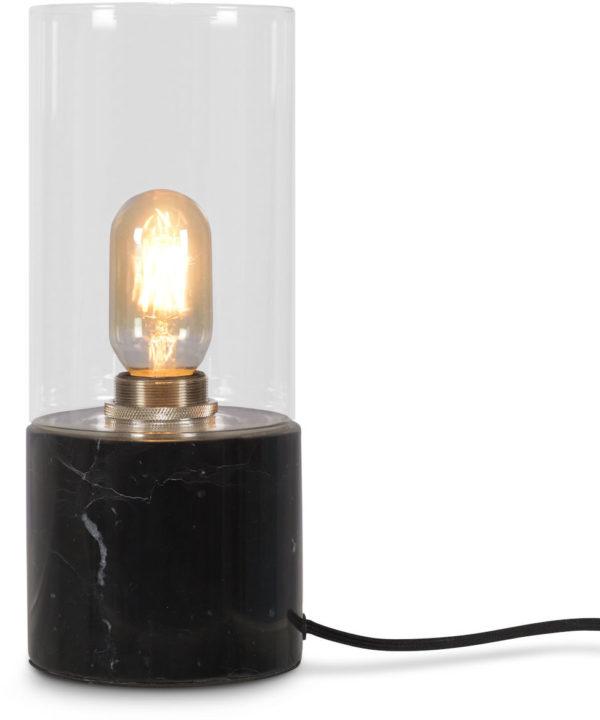 Tafellamp glas/marmer Athens cilinder dia.12xh.25cm, zwart it's about RoMi Tafellamp ATHENS/TG/B