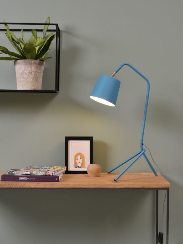 Tafellamp ijzer 3-poot Barcelona 42x25x h.59cm/kap 14xh.13cm, teal blauw it's about RoMi Tafellamp BARCELONA/T/TL