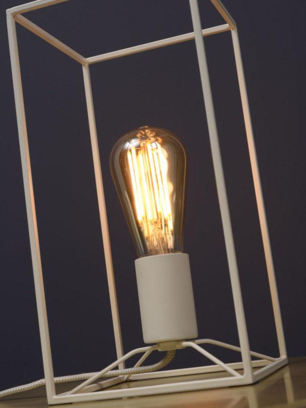 Tafellamp ijzer Antwerp rechthoek 15x15xh.30cm, wit it's about RoMi Tafellamp ANTWERP/T/W