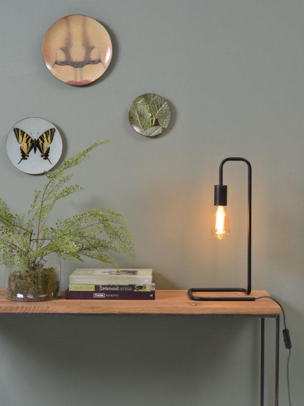 Tafellamp ijzer London 20x20xh.45,5cm, zwart it's about RoMi Tafellamp LONDON/T/B