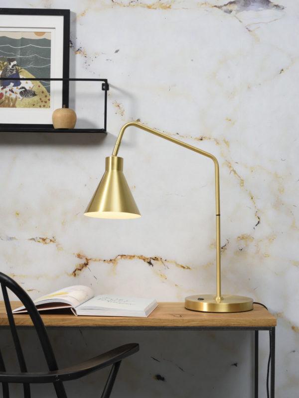Tafellamp ijzer Lyon b.55xh.54cm/kap.dia.16xh.17cm, gold it's about RoMi Tafellamp LYON/T/GO