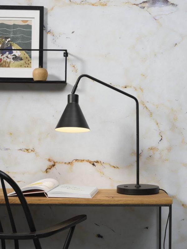 Tafellamp ijzer Lyon b.55xh.54cm/kap.dia.16xh.17cm, zwart it's about RoMi Tafellamp LYON/T/B