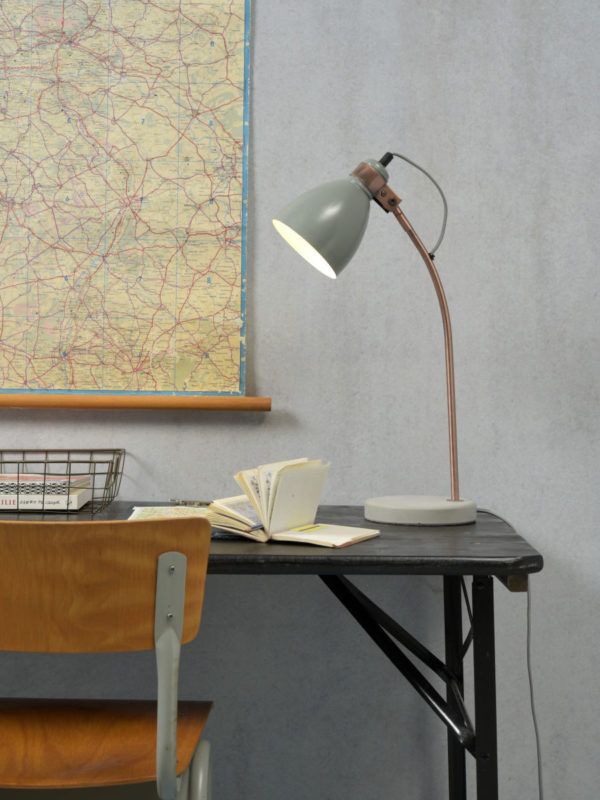 Tafellamp ijzer/cement voet Denver b.20xh.50cm/kap rond dia.12,5xh.17cm, lichtgrijs it's about RoMi Tafellamp DENVER/T/LG