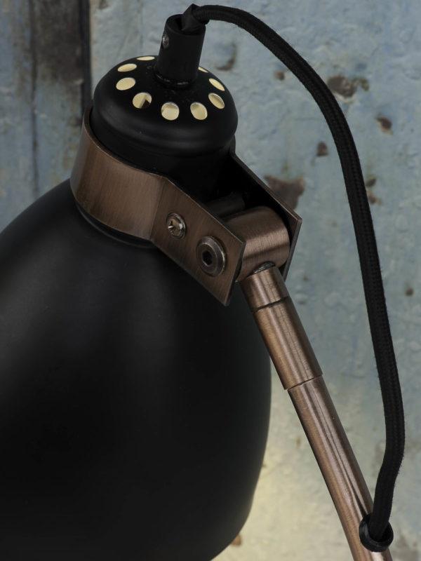 Tafellamp ijzer/cement voet Denver b.20xh.50cm/kap rond dia.12,5xh.17cm, zwart it's about RoMi Tafellamp DENVER/T/B