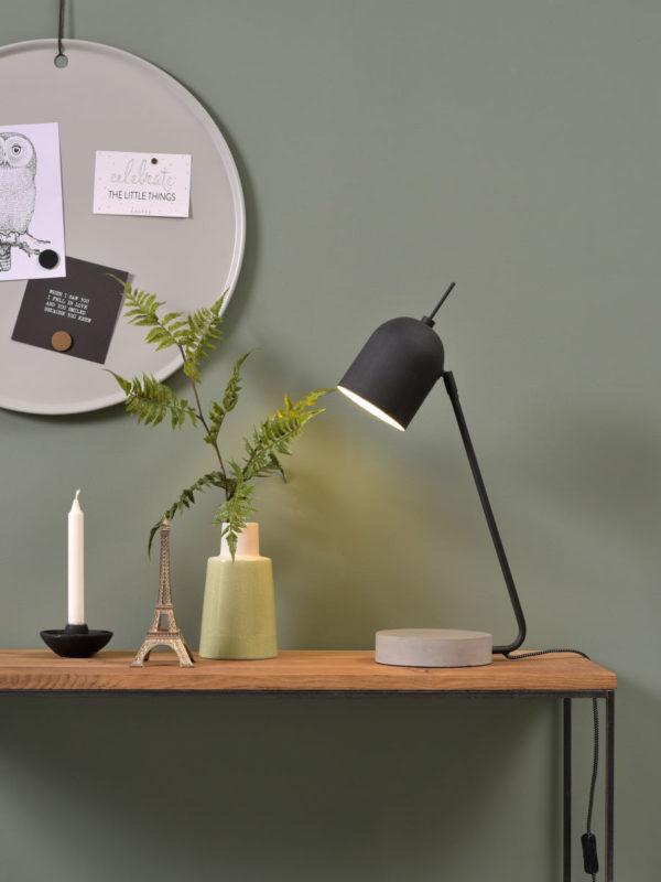 Tafellamp ijzer/cement voet Madrid b.22xh.57cm/kap dia.12xh.15cm, zwart it's about RoMi Tafellamp MADRID/T/B