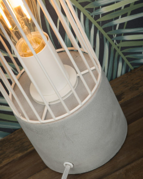 Tafellamp ijzerdraad/cement Memphis h.39xdia.11,5cm, wit it's about RoMi Tafellamp MEMPHIS/T/W