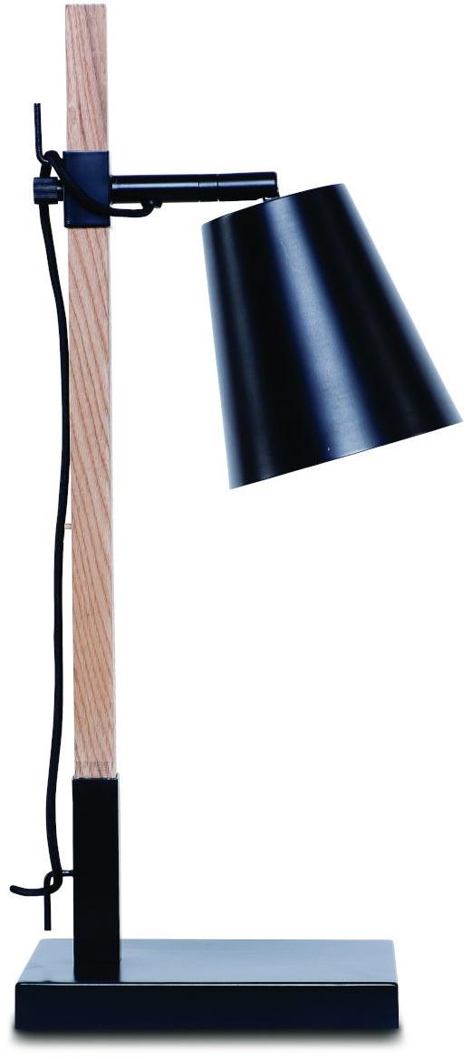 Tafellamp ijzer/essenhout Sydney h.54cm/kap 15x15cm, zwart/naturel it's about RoMi Tafellamp SYDNEY/T/B