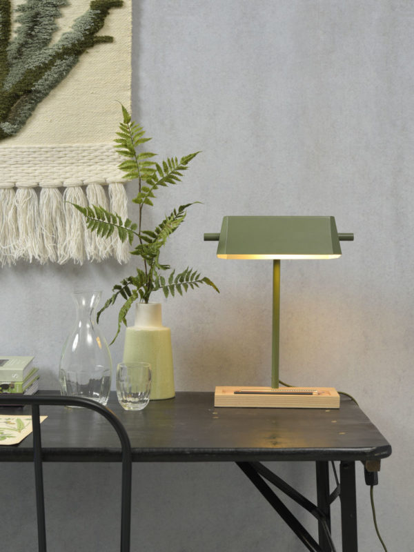 Tafellamp ijzer/hout Cambridge  25x12xh.40cm/kap 25x12xh.8cm, olijfgroen/naturel it's about RoMi Tafellamp CAMBRIDGE/T/OG