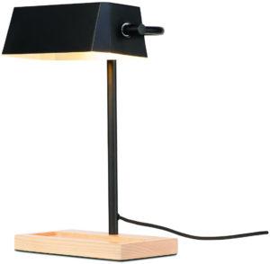 Tafellamp ijzer/hout Cambridge 25x12xh.40cm/kap 25x12xh.8cm, zwart/naturel it's about RoMi Tafellamp CAMBRIDGE/T/B