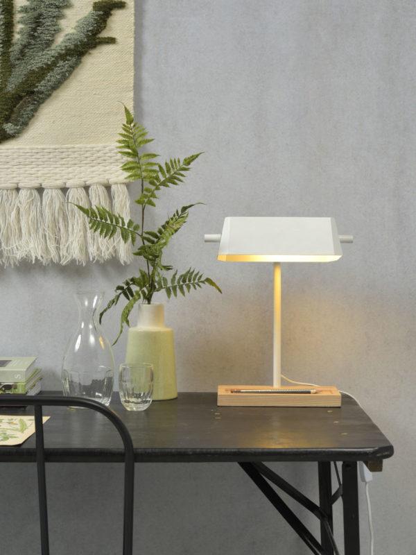 Tafellamp ijzer/hout Cambridge 25x12xh.47cm/kap 25x12xh.8cm, wit/naturel it's about RoMi Tafellamp CAMBRIDGE/T/W
