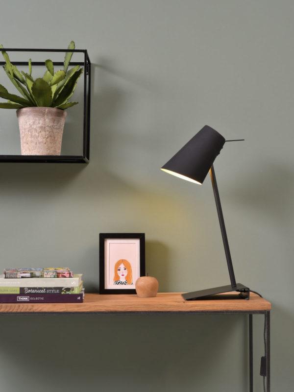 Tafellamp ijzer/rubber finish Cardiff h.54cm/shade h.20x15cm, zwart it's about RoMi Tafellamp CARDIFF/T/B