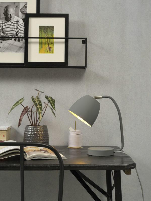 Tafellamp ijzer/rubber finish Newport h.28cm/kap h.11x13cm, grijs it's about RoMi Tafellamp NEWPORT/T/LG