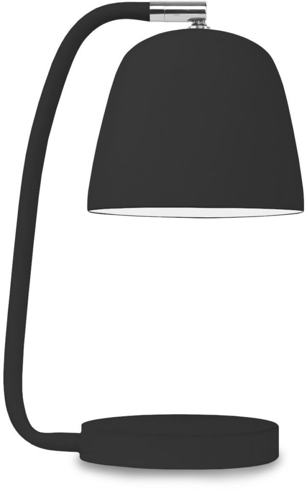 Tafellamp ijzer/rubber finish Newport h.28cm/kap h.11x13cm, zwart it's about RoMi Tafellamp NEWPORT/T/B