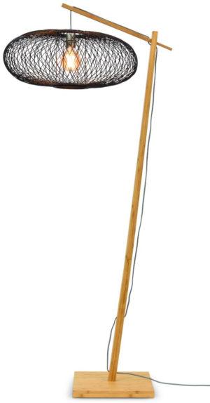 Vloerlamp Cango bamboe nat. h.176cm/kap 60x25cm zwart it's about RoMi Vloerlamp CANGO/F/AD/N/6025/B