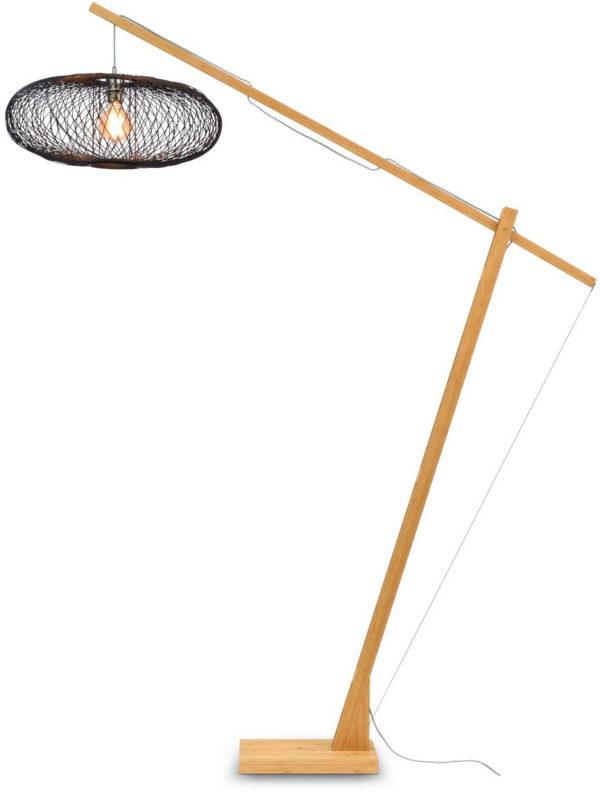 Vloerlamp Cango bamboe nat.h.207cm/kap 60x25cm, zwart it's about RoMi Vloerlamp CANGO/F/MB/6025/B