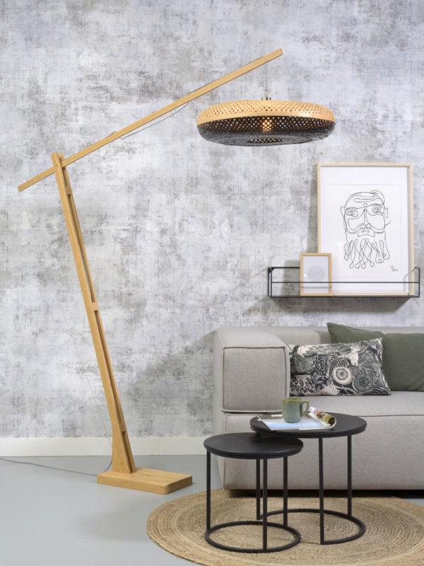 Vloerlamp Palawan bamboe h.207cm/kap 60x15cm nat/zw. it's about RoMi Vloerlamp PALAWAN/F/MB/6015/BN