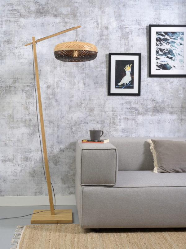 Vloerlamp Palawan bamboe nat. h.176cm/kap 40x15cm nat/zw. it's about RoMi Vloerlamp PALAWAN/F/AD/N/4015/BN