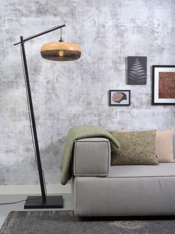 Vloerlamp Palawan bamboe zw.h.176cm/kap 40x15cm nat/zw. it's about RoMi Vloerlamp PALAWAN/F/AD/B/4015/BN