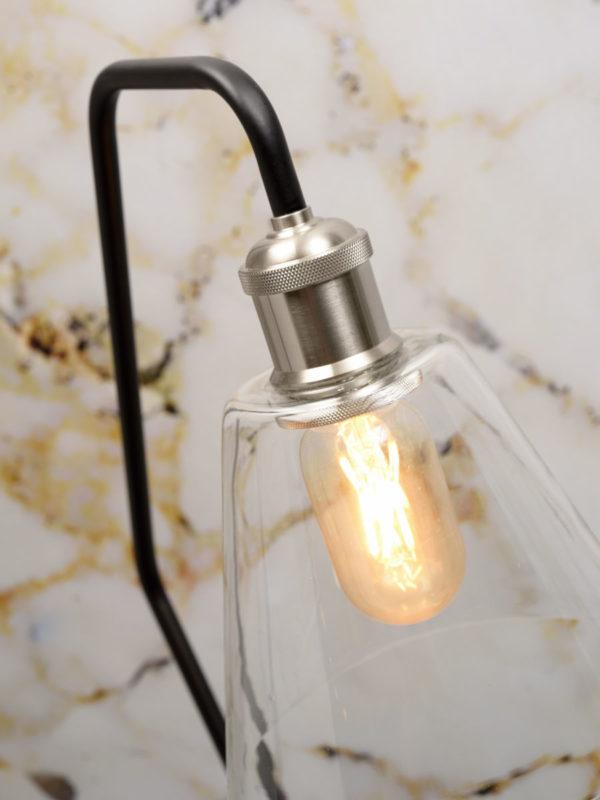 Vloerlamp glas/marmer Paris b.37xh.150cm/kap dia.16,5xh.15cm, zwart it's about RoMi Vloerlamp PARIS/F/B