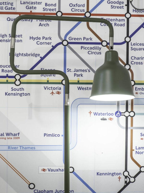 Vloerlamp ijzer London b.44xh.150cm/kap dia.16xh.16cm, olijfgroen it's about RoMi Vloerlamp LONDON/F/OG
