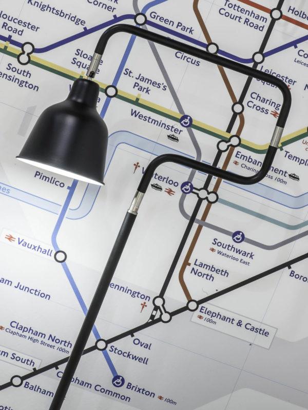 Vloerlamp ijzer London b.44xh.150cm/kap dia.16xh.16cm, zwart it's about RoMi Vloerlamp LONDON/F/B